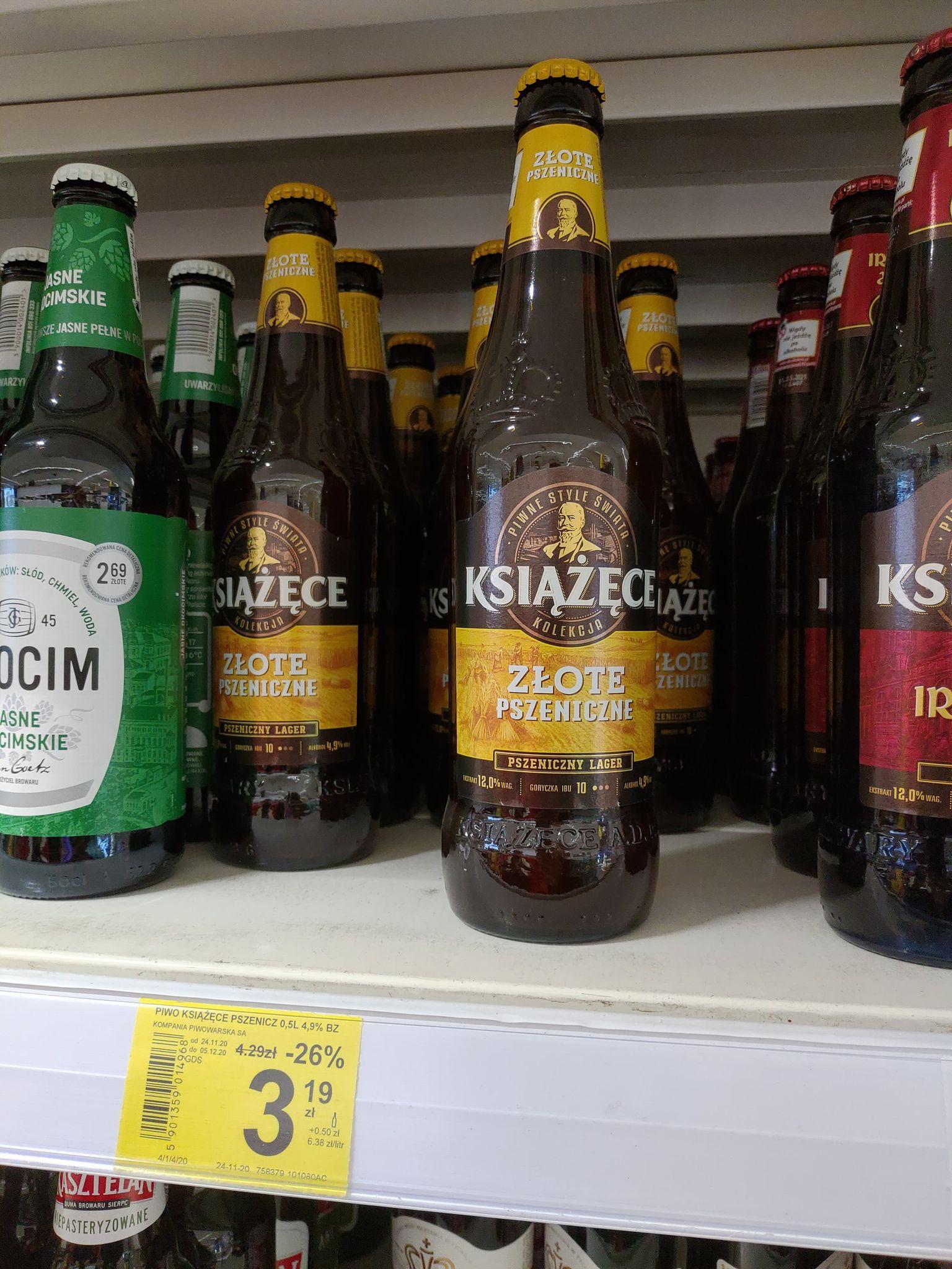 Książęce Złote Pszeniczne oraz Czerwony Lager piwo w butelce 500 ml - Carrefour Wrocław