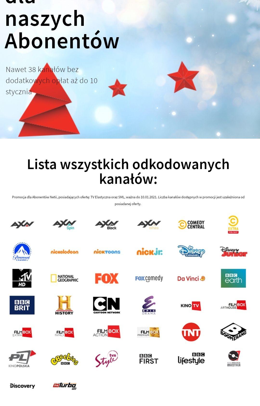 Netia - bezpłatny dostęp do 38 kanałów TV