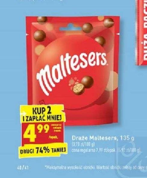 Draże Maltesers 135 g za 4,99 zł przy zakupie 2 sztuk w Biedronce