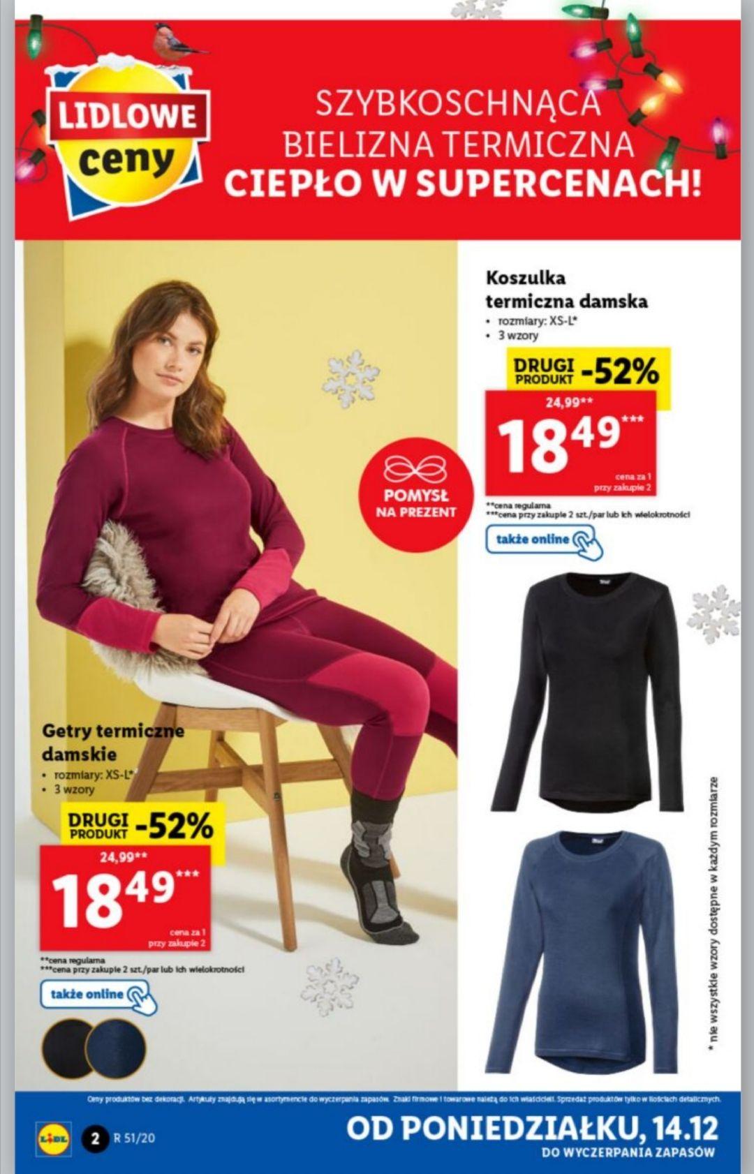 Koszulka termiczna, getry termiczne damskie, męskie Crivit Lidl - drugi produkt -52%
