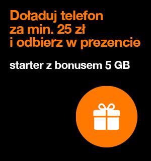 Starter Orange 5zł z bonusem 5GB po doładowaniu. OPIS