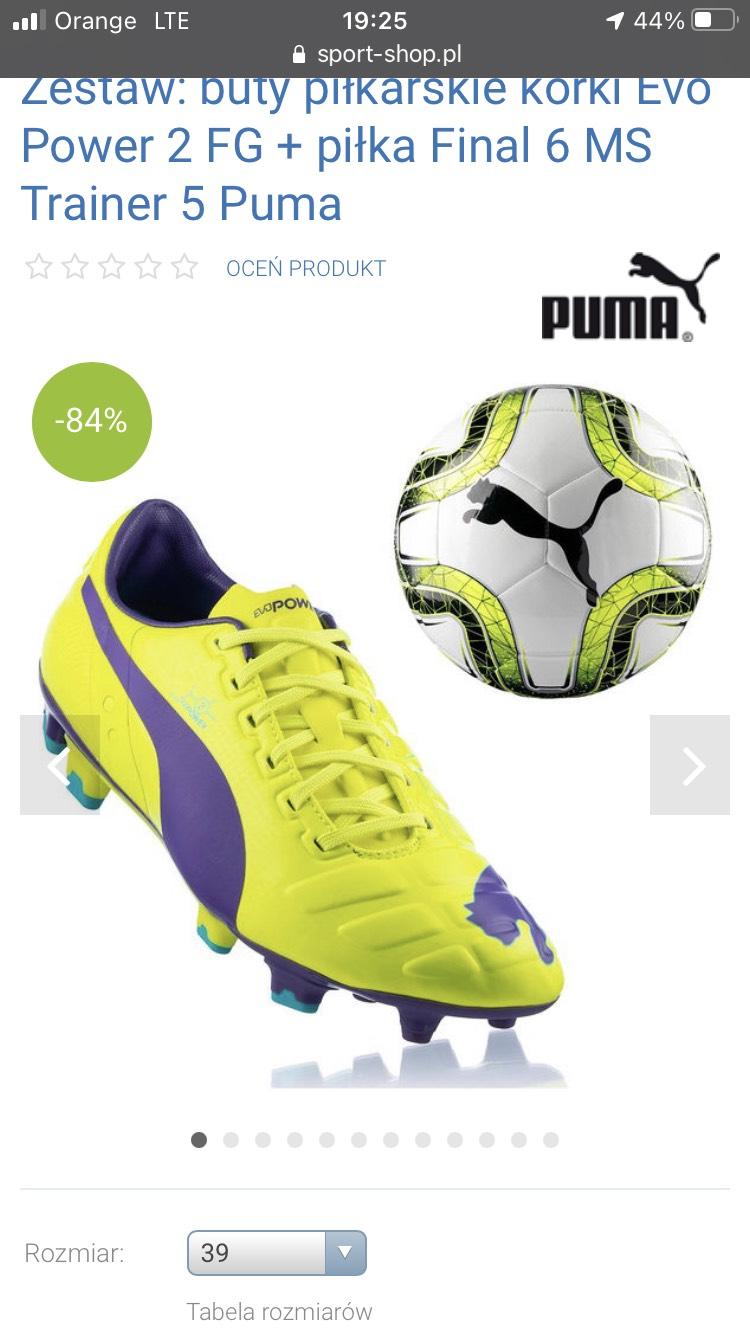 Zestaw: buty piłkarskie korki Evo Power 2 FG + piłka Final 6 MS Trainer 5 Puma