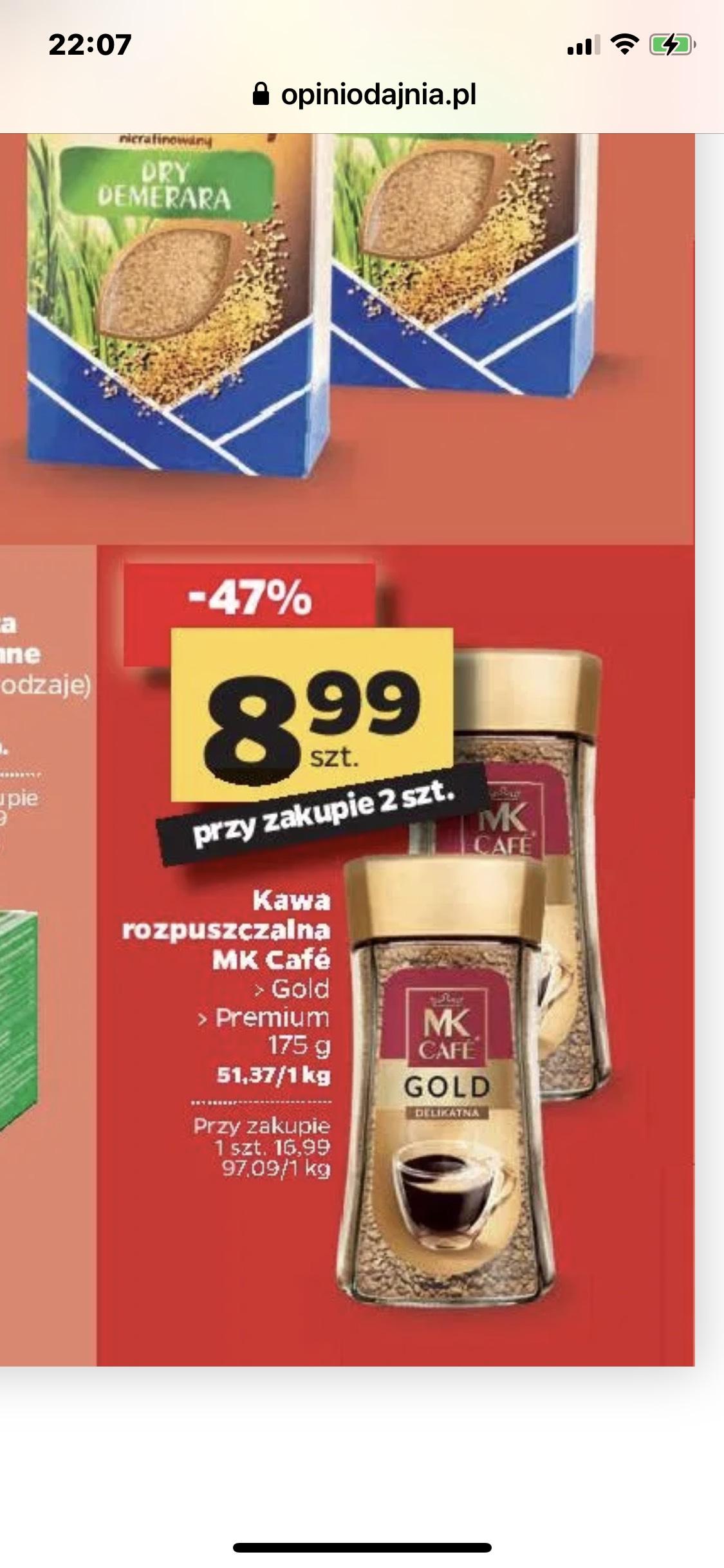 MK Cafe Gold Premium kawa rozpuszcza 175g przy zakupie 2 sztuk NETTO