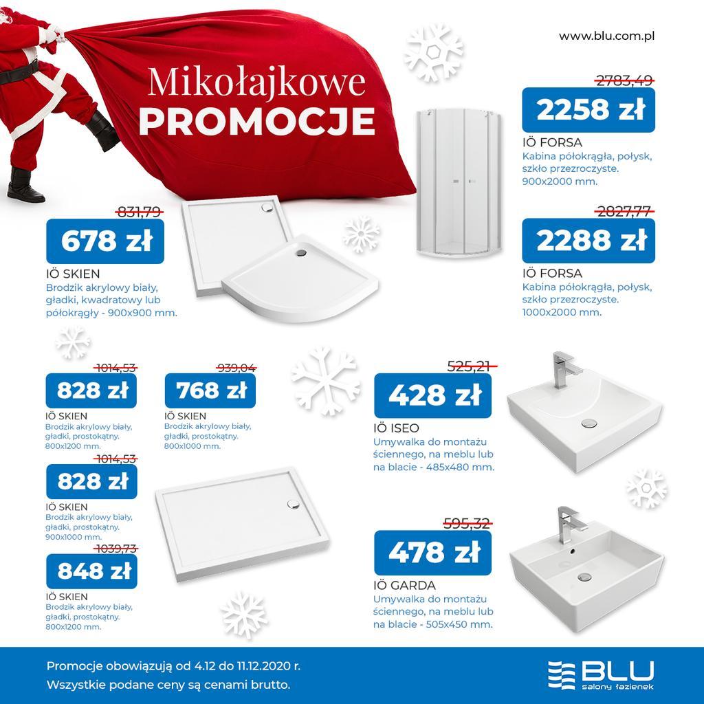 BLU salony łazienek na Mikołajki - umywalki, kabiny, brodziki (zbiorcze promo)