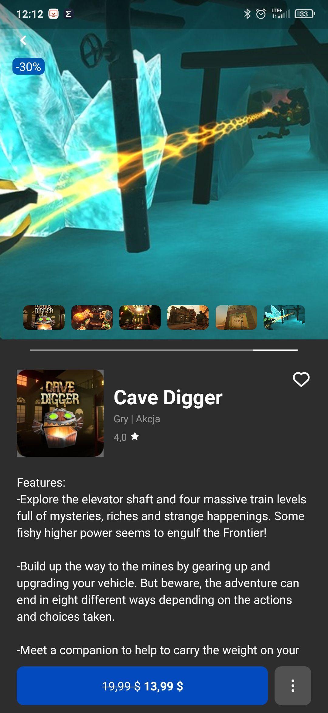 Cave digger, gra VR oculus Rift i quest