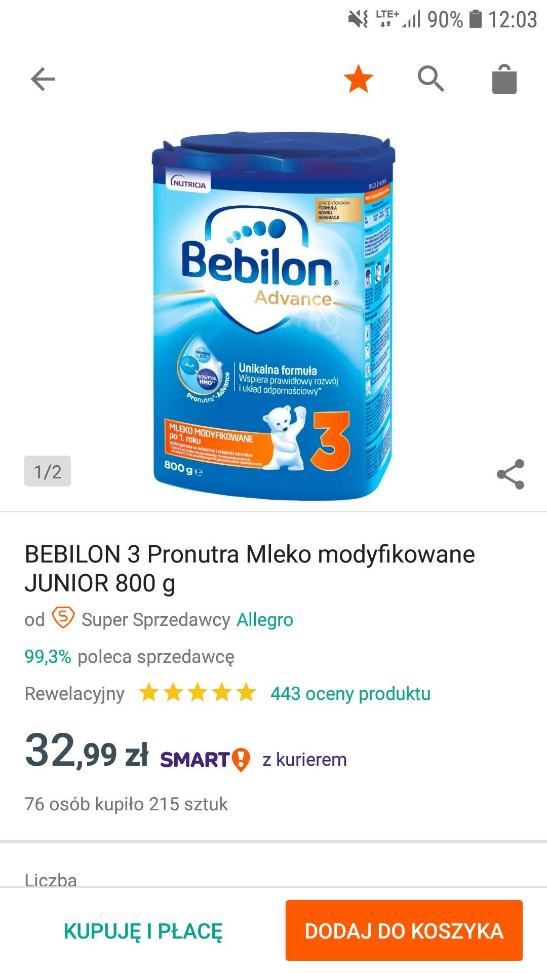 Mleko Bebilon 3 800g na Allegro w super cenie . Oferta wznowiona.