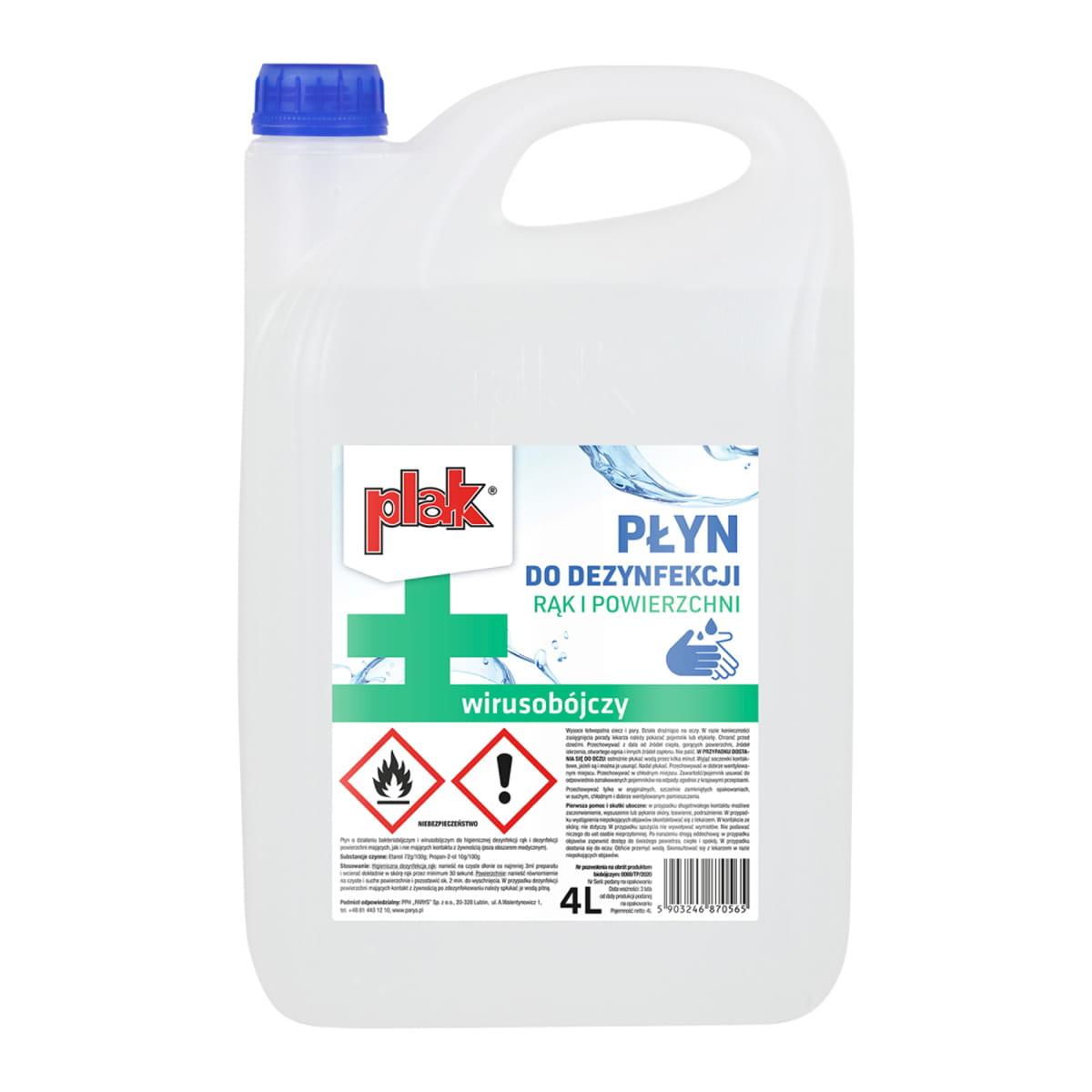 PLAK - płyn do dezynfekcji rąk i powierzchni 4L (1L też dostępny) | E. Leclerc