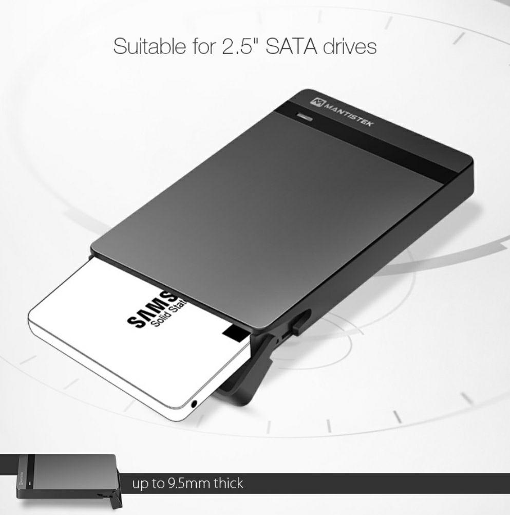 """MantisTek® kieszeń na dysk SSD/HDD 2,5"""" USB 3.0 wysyłka z UK @Banggood"""