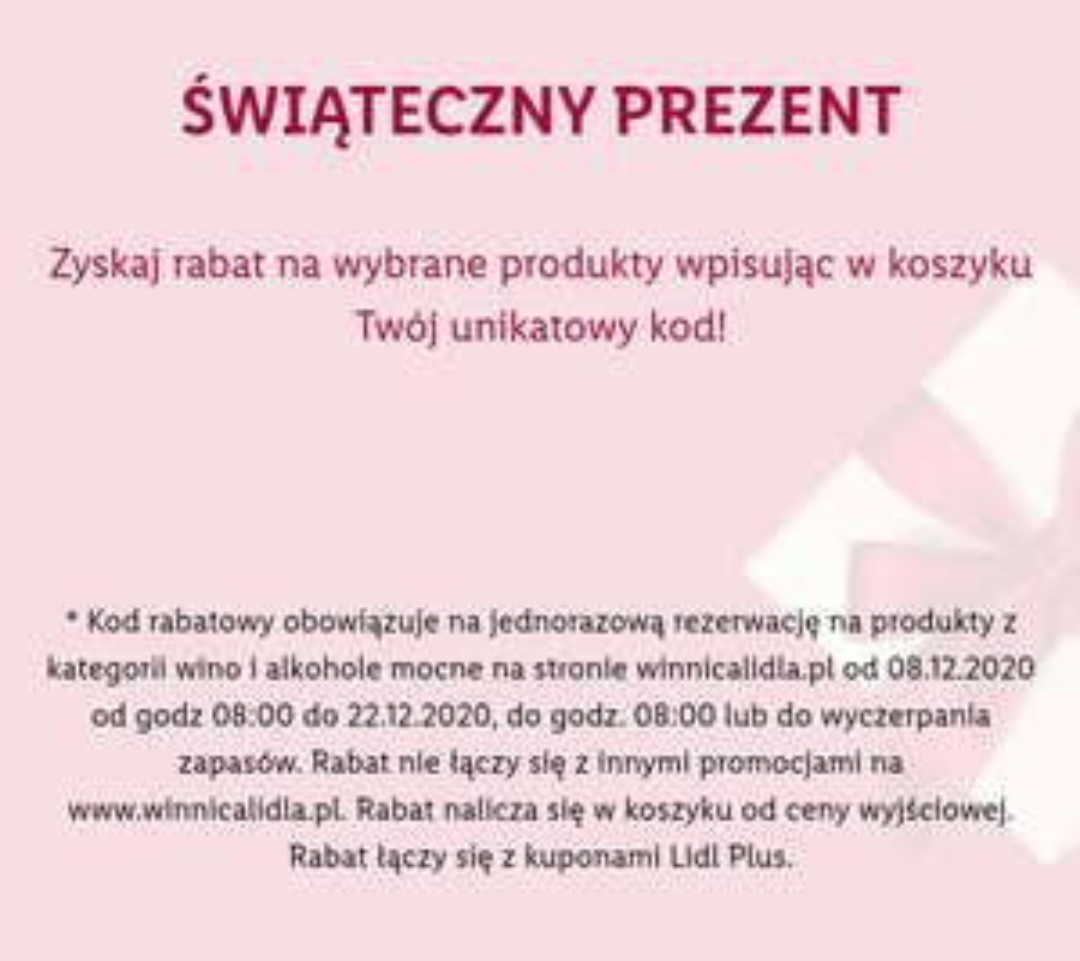 Rabat -20% na Winnicy Lidla, MWZ 300 zł