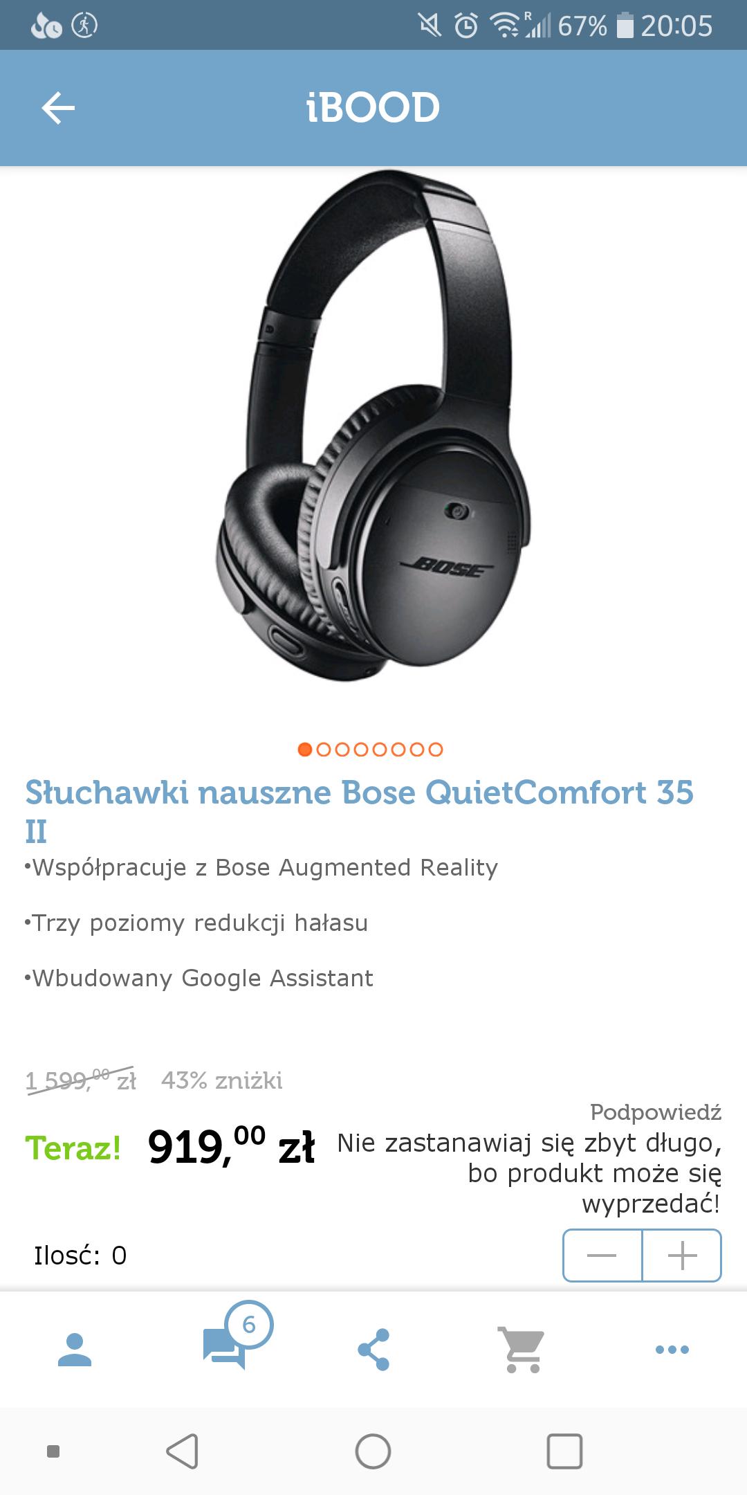 Słuchawki nauszne z ANC Bose QuietComfort 35