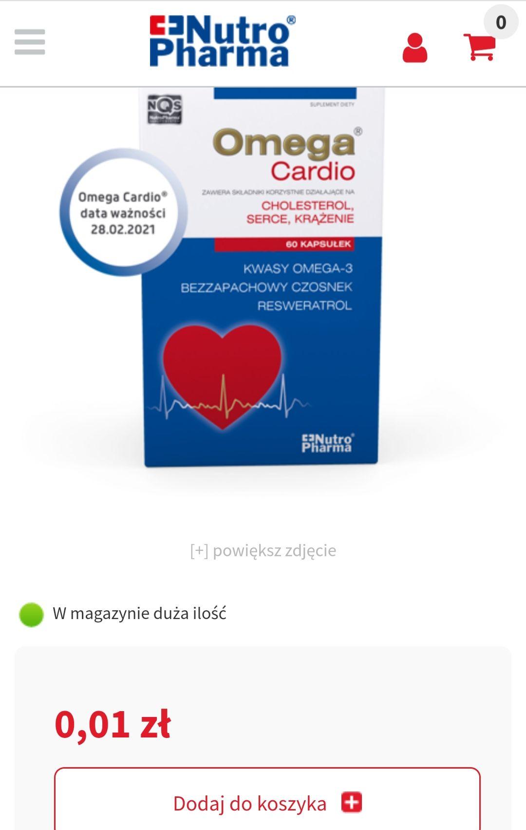 Omega cardio, kapsułki 60 sztuk (krótki termin ważności)