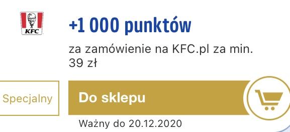 1000 punktów payback za zakup w KFC za 39 zl