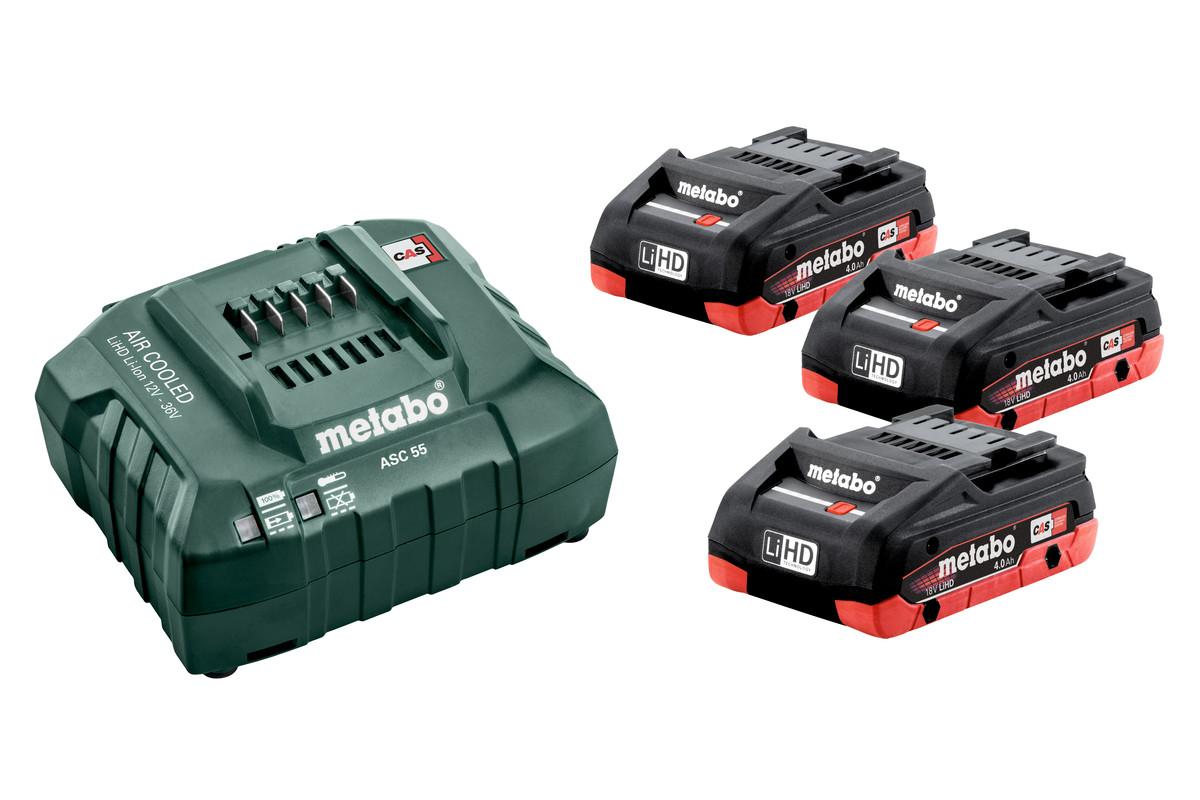 Metabo 3 akumulatory LiHD 18V/4.0Ah + ASC 30-36V