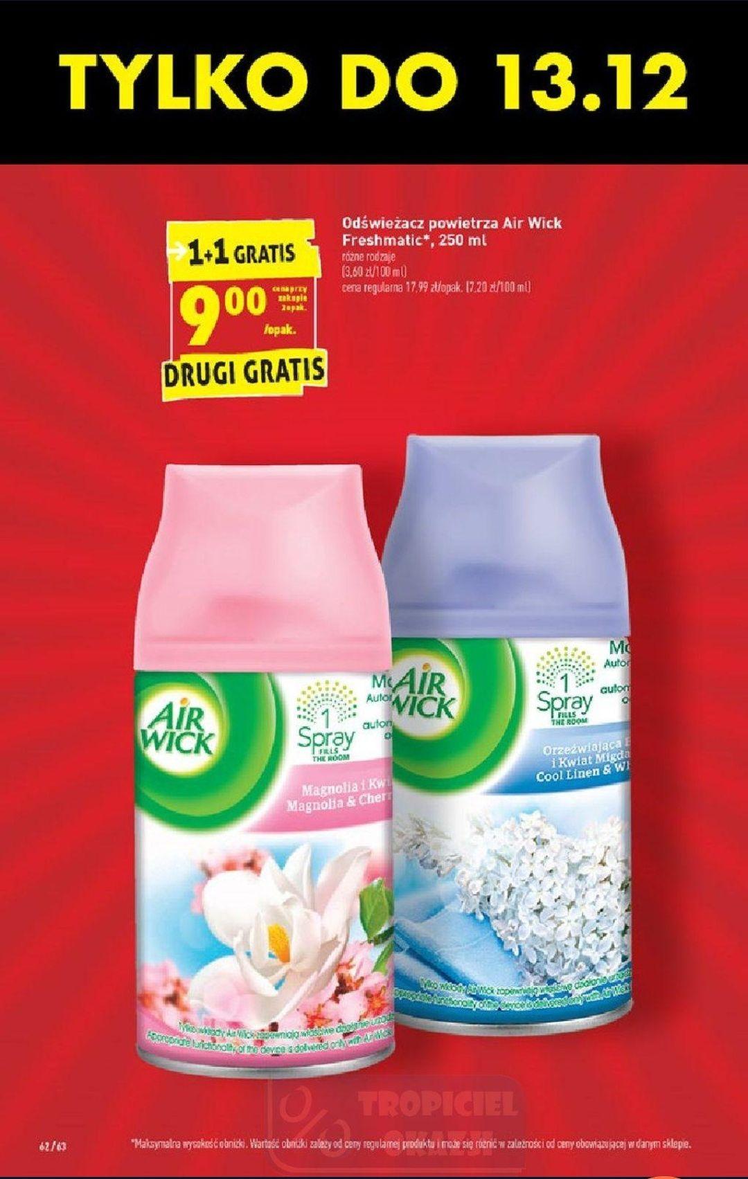 Air Wick freshmatic 250 ml za 9 zł/opak przy zakupie 2 sztuk w Biedronce