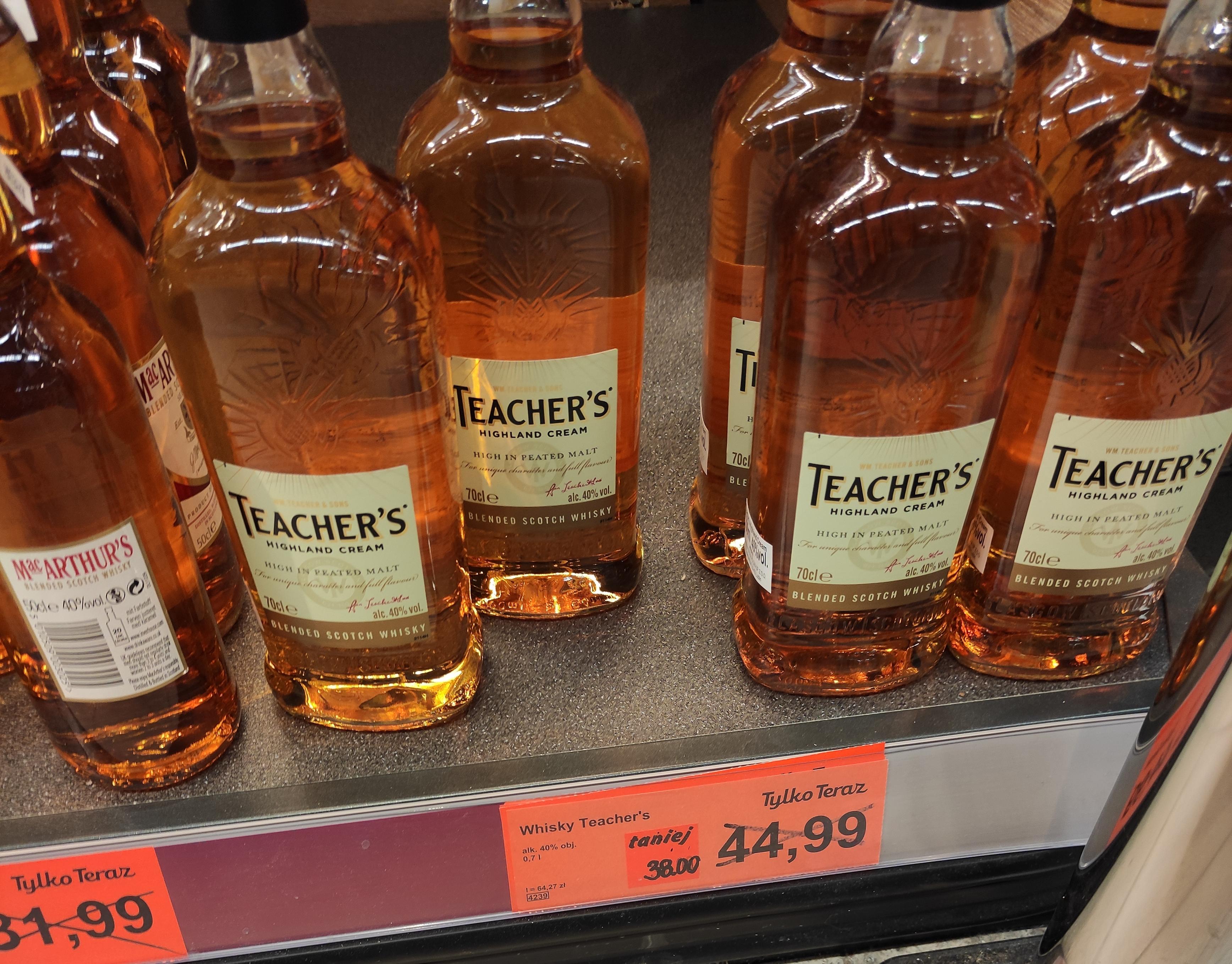 Whisky Teacher's 0,7 l w Aldi Bydgoszcz 38,00