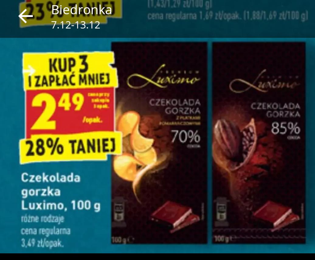 Czekolada Luximo 85% przy zakupie 3szt Biedronka