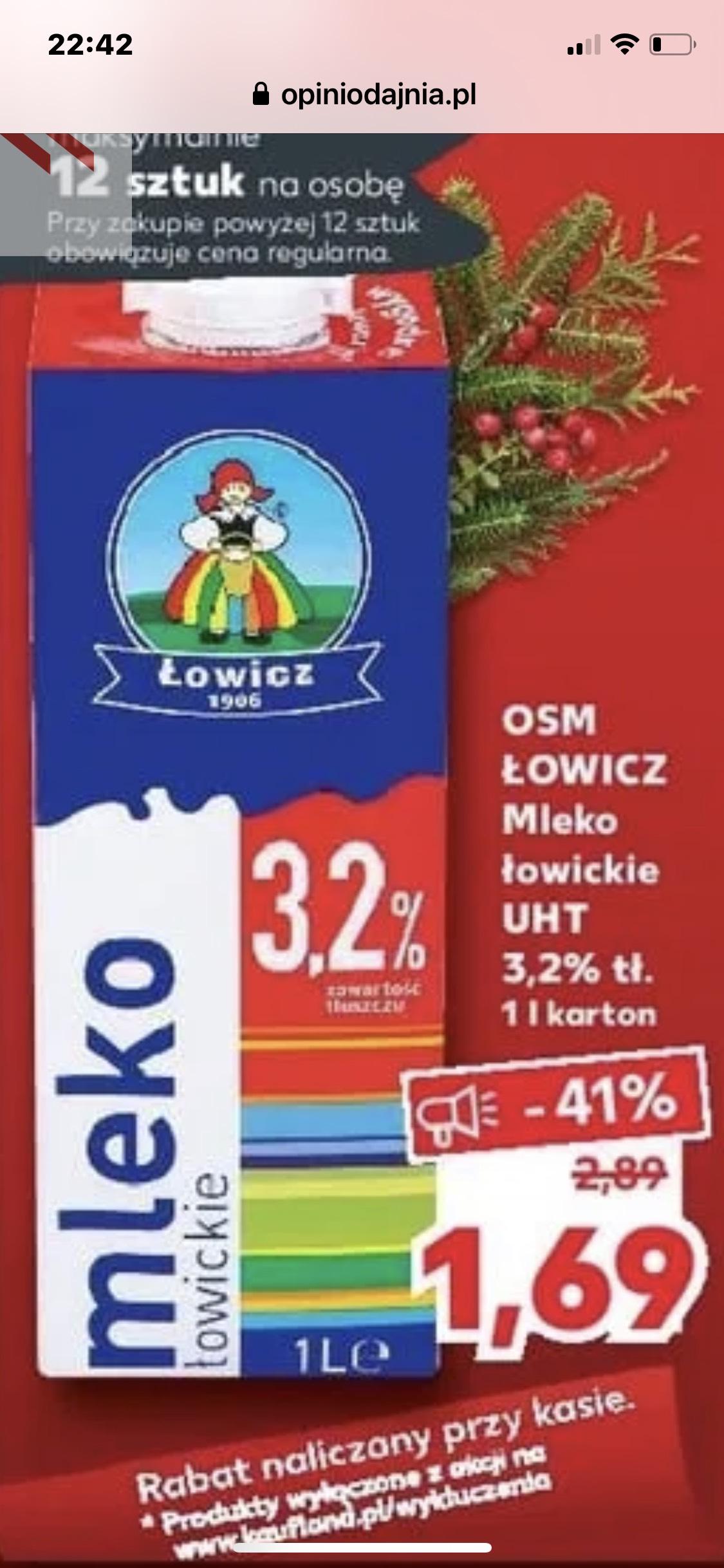 Mleko Łowicz 3,2% po 1,69 zł Kaufland
