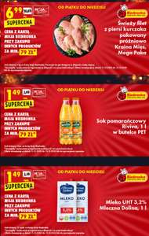 Mega okazje na weekend - Filet z piersi kurczaka Mega Paka, Sok pomarańczowy Riviva 11i Mleko UHT 3,2% Mleczna Dolina