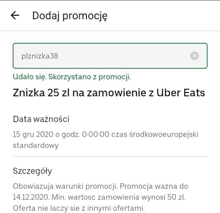 25 zł zniżki na Uber Eats. (mwz. 50 zł)