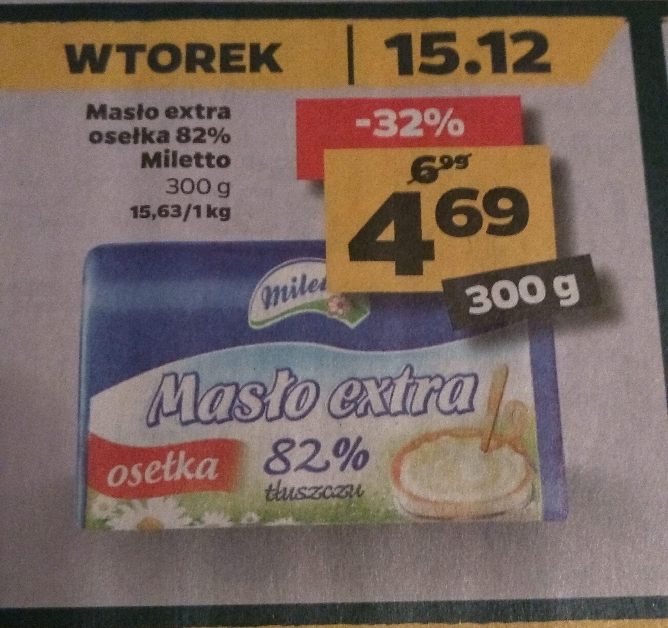 Masło extra osełka 300g (za 200g 3.13) w Netto
