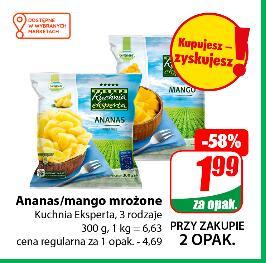 Ananas lub mango mrożone 300 g przy zakupie 2 opak. (6,63 zł/kg) 3 rodzaje @Dino
