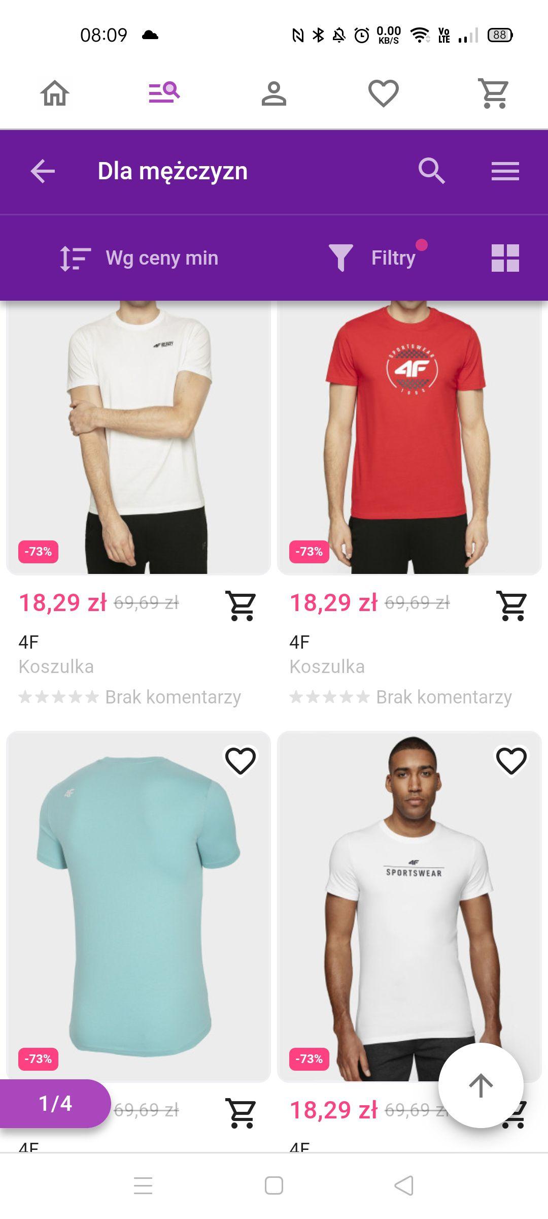 Przecena 4F w Wildberries koszulki od 18,29pln