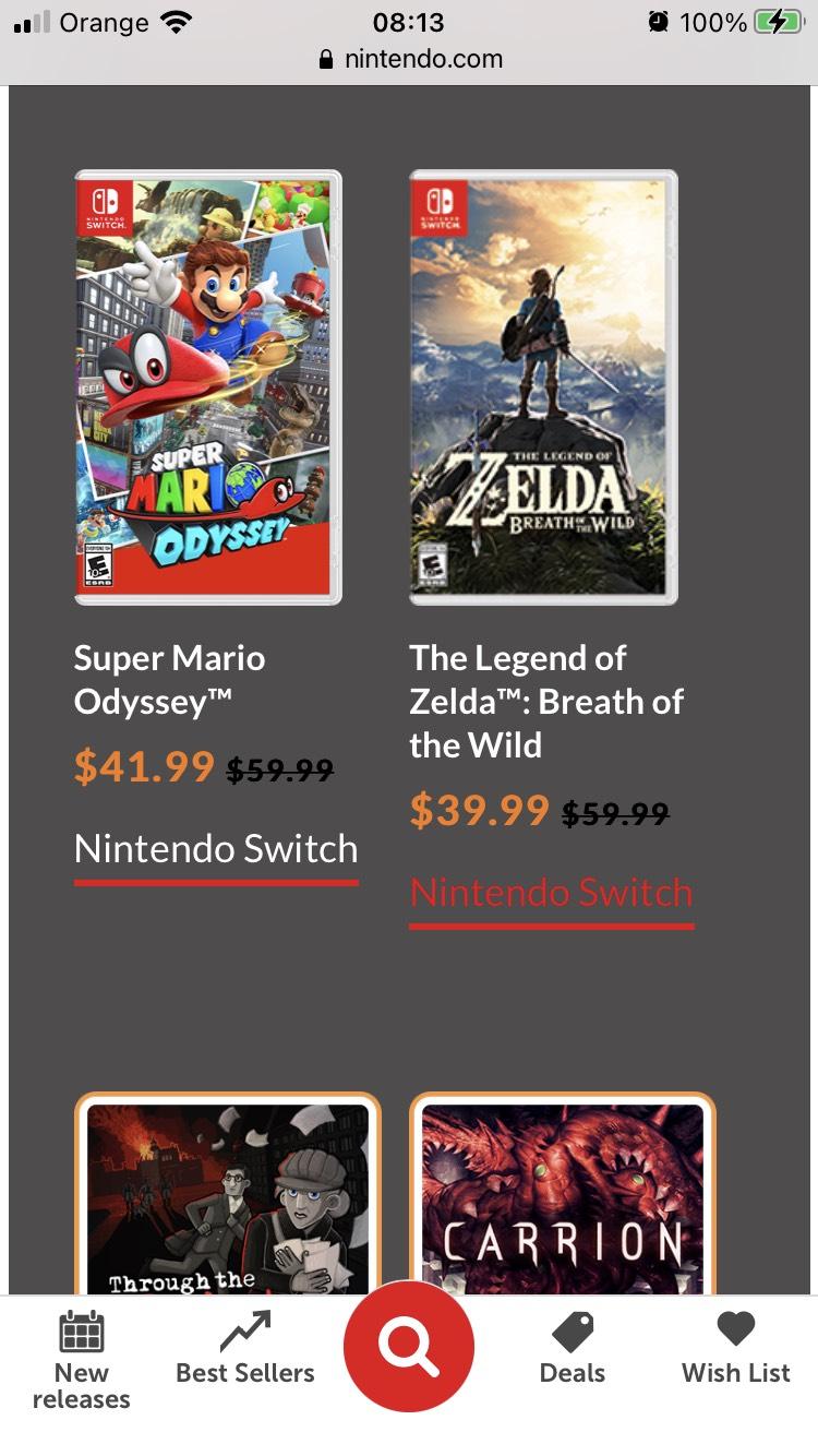 eShop Nintendo Switch - Zelda Breath of the Wild, Mario: Odyssey