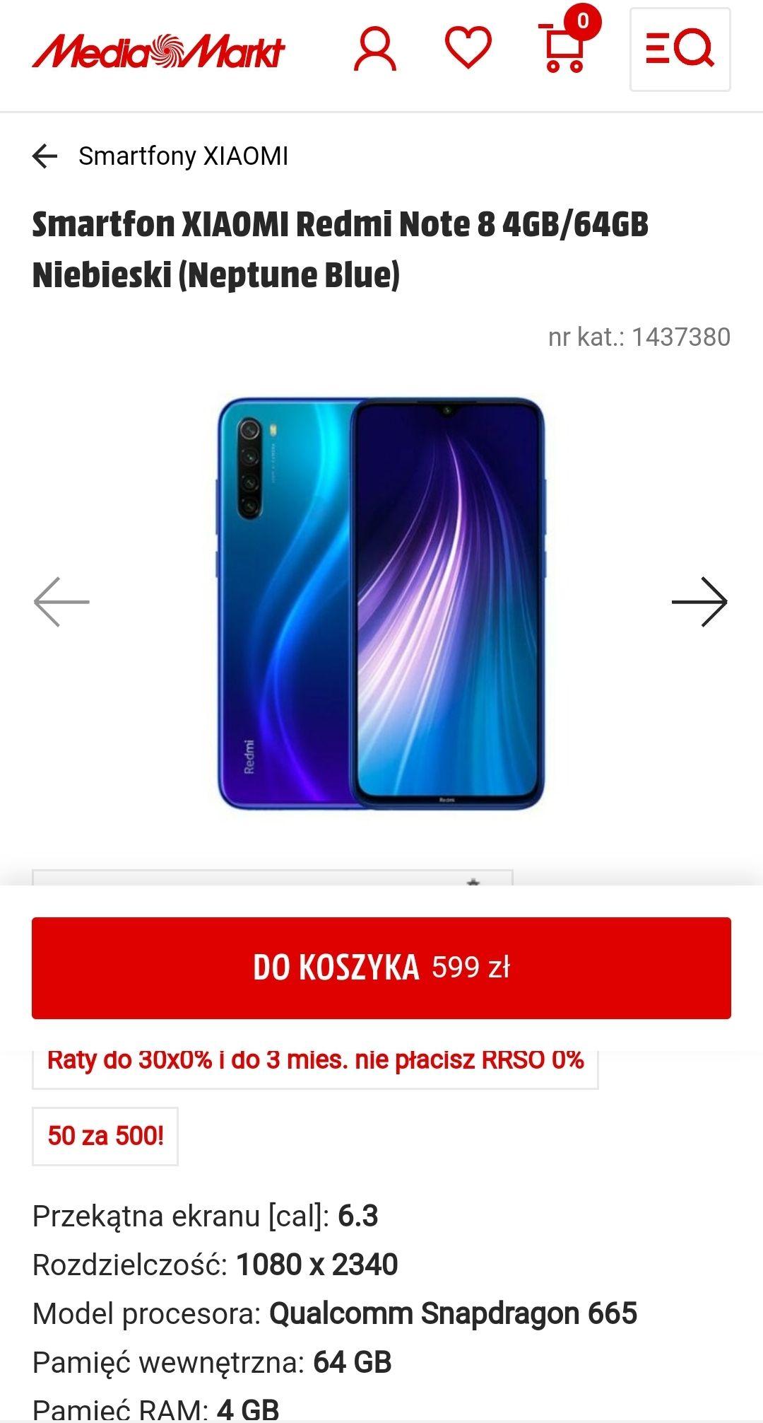 Xiaomi Redmi Note 8 4/64 za 599 + 50 zł na kolejny zakup