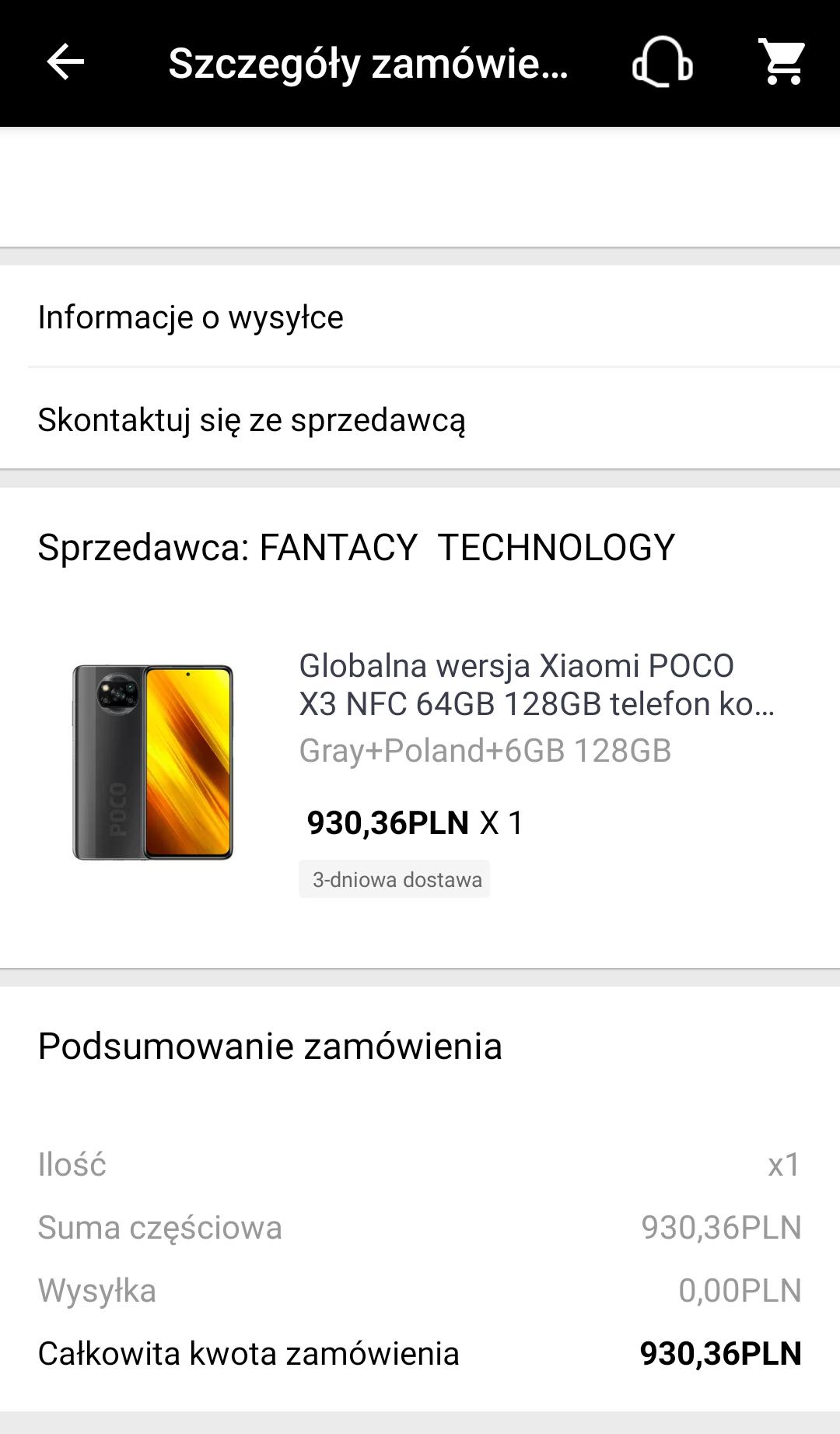 Poco x3 NFC 6/128 930zł z Polski