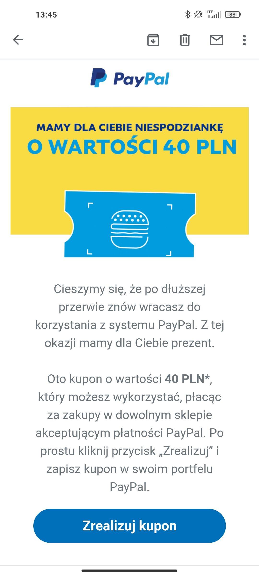 PAYPAL - kupon 40 zł na dowolne zakupy