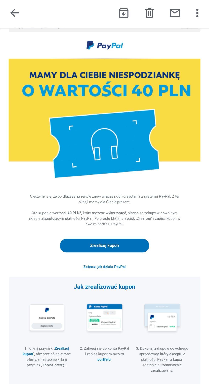 -40 zł od PayPal