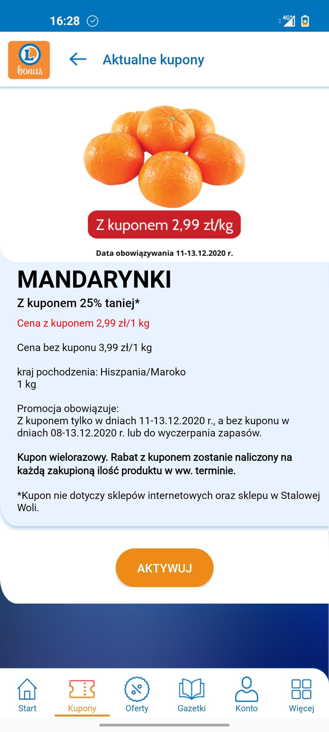 Mandarynki 2,99zł/kg z kuponem w aplikacji Leclerc