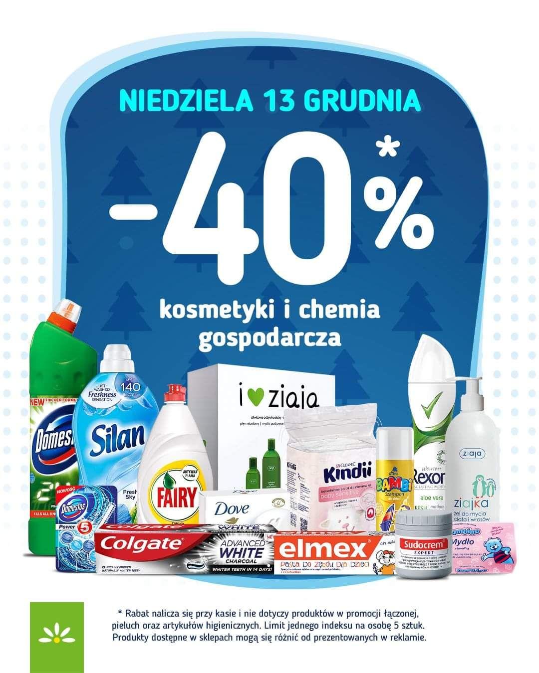 - 40% kosmetyki i chemia gospodarcza (także na przecenione w gazetce ) - Stokrotka