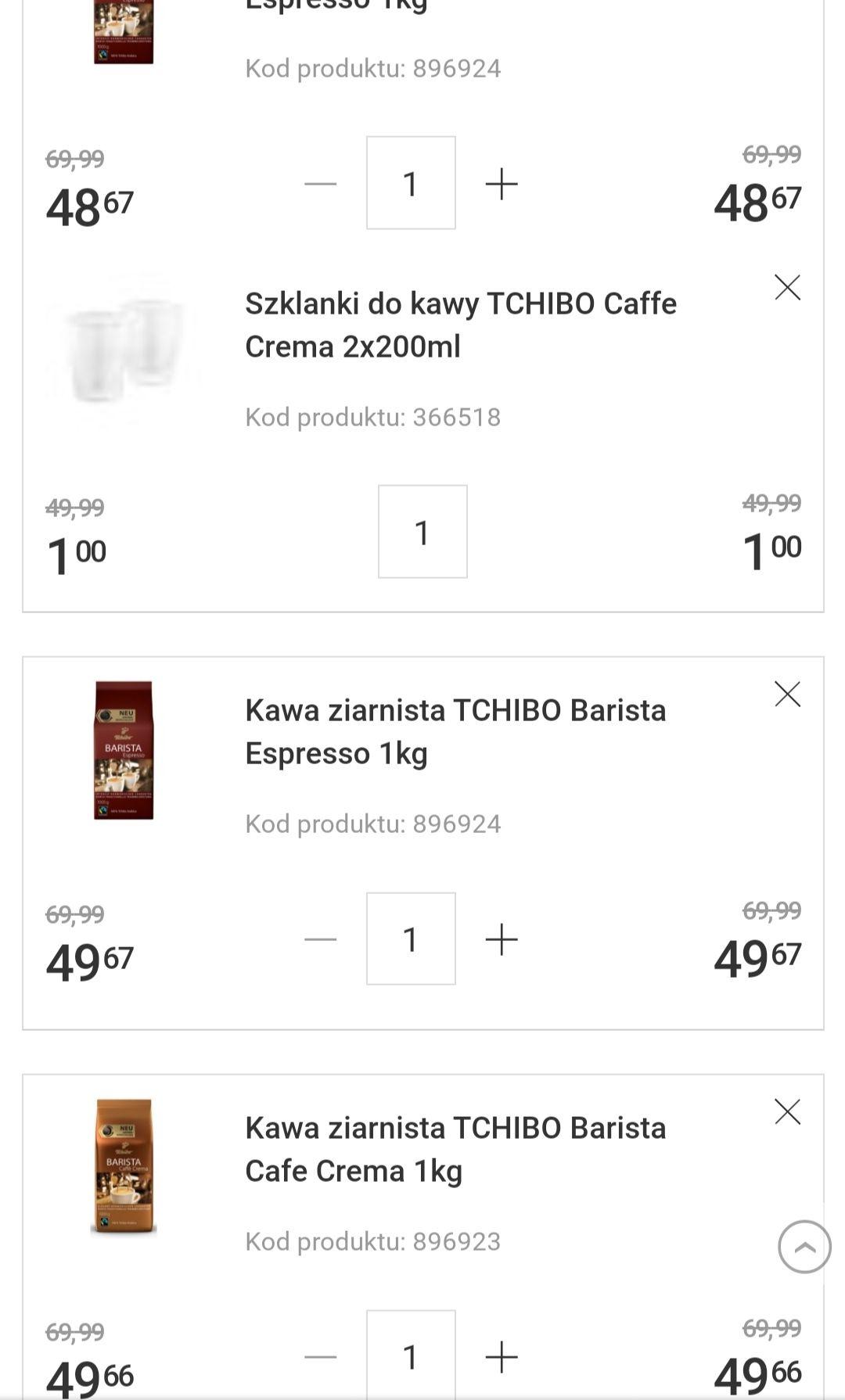 3 kawy Tchibo Barista cafe crema lub espresso 1 kg + gratis 2 szklanki termiczne Tchibo (wartość 49 zł)+ możliwy zwrot 19 zł goodie