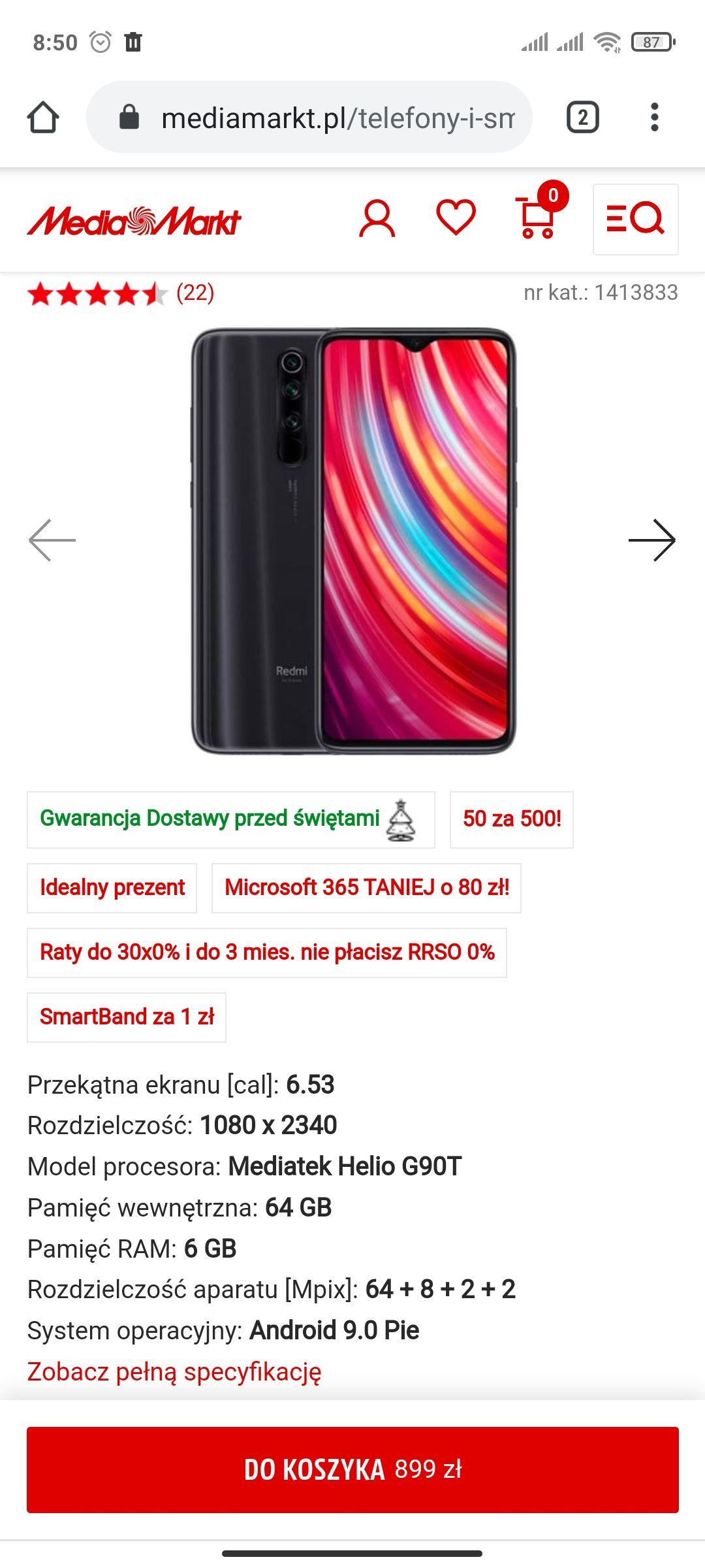 Xiaomi Redmi Note 8 PRO + mi band 4 + karta podarunkowa MediaMarkt 50 zł