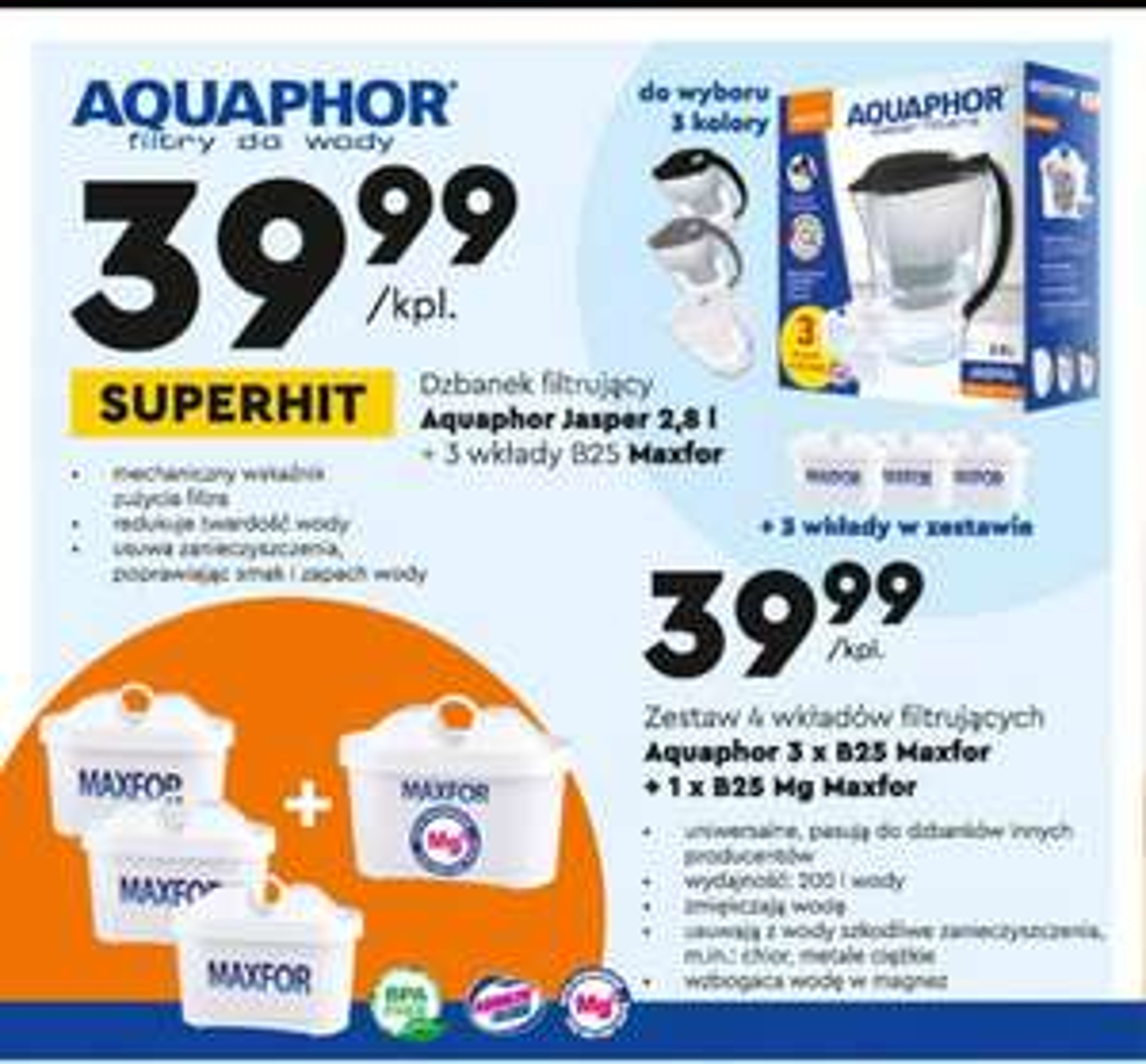 Dzbanek filtrujący Aquaphor Jasper 2.8L lub 4 wklady B25