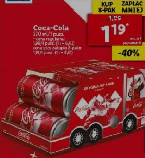 8x puszka 0,33L Coca-Cola (1,19zł za 1) w świątecznym opakowaniu @ Lidl