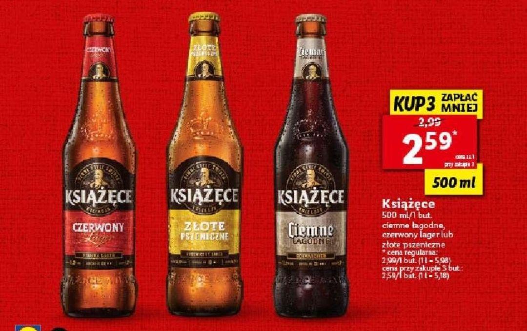 Piwo książęce 0,5 l za 2,59 zł/szt przy zakupie 3 sztuk w Lidlu