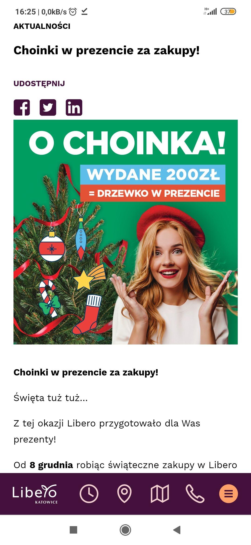 Galeria Libero Katowice, wydane 200zł=choinka