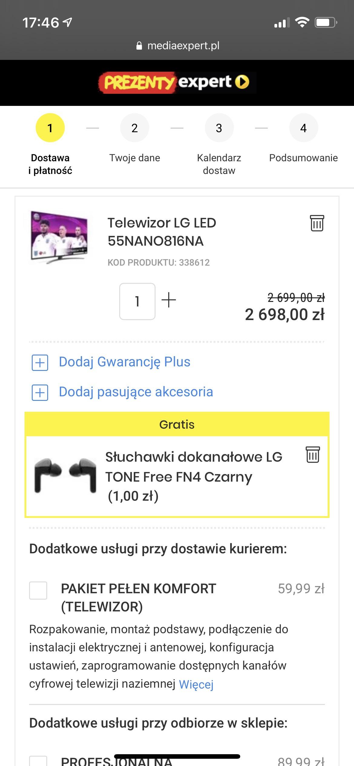 Telewizor LG 55NANO816 + słuchawki TWS LG za free