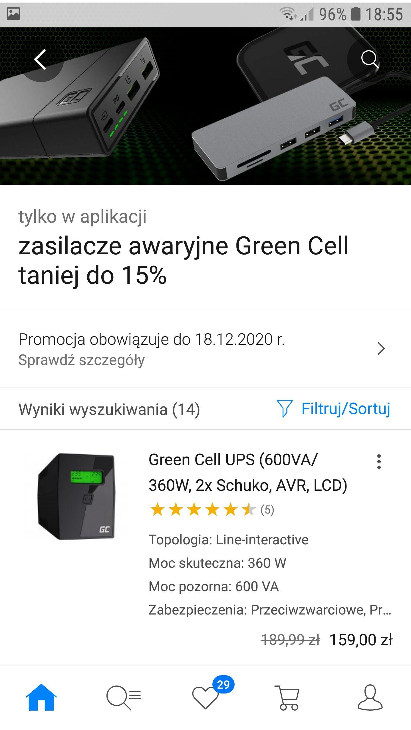 Zasilacze green cell taniej do 15%