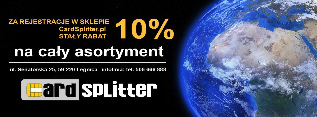 10% stałej zniżki na CardSplitter.pl za zarejestrowanie się - sprzęt TV / SAT
