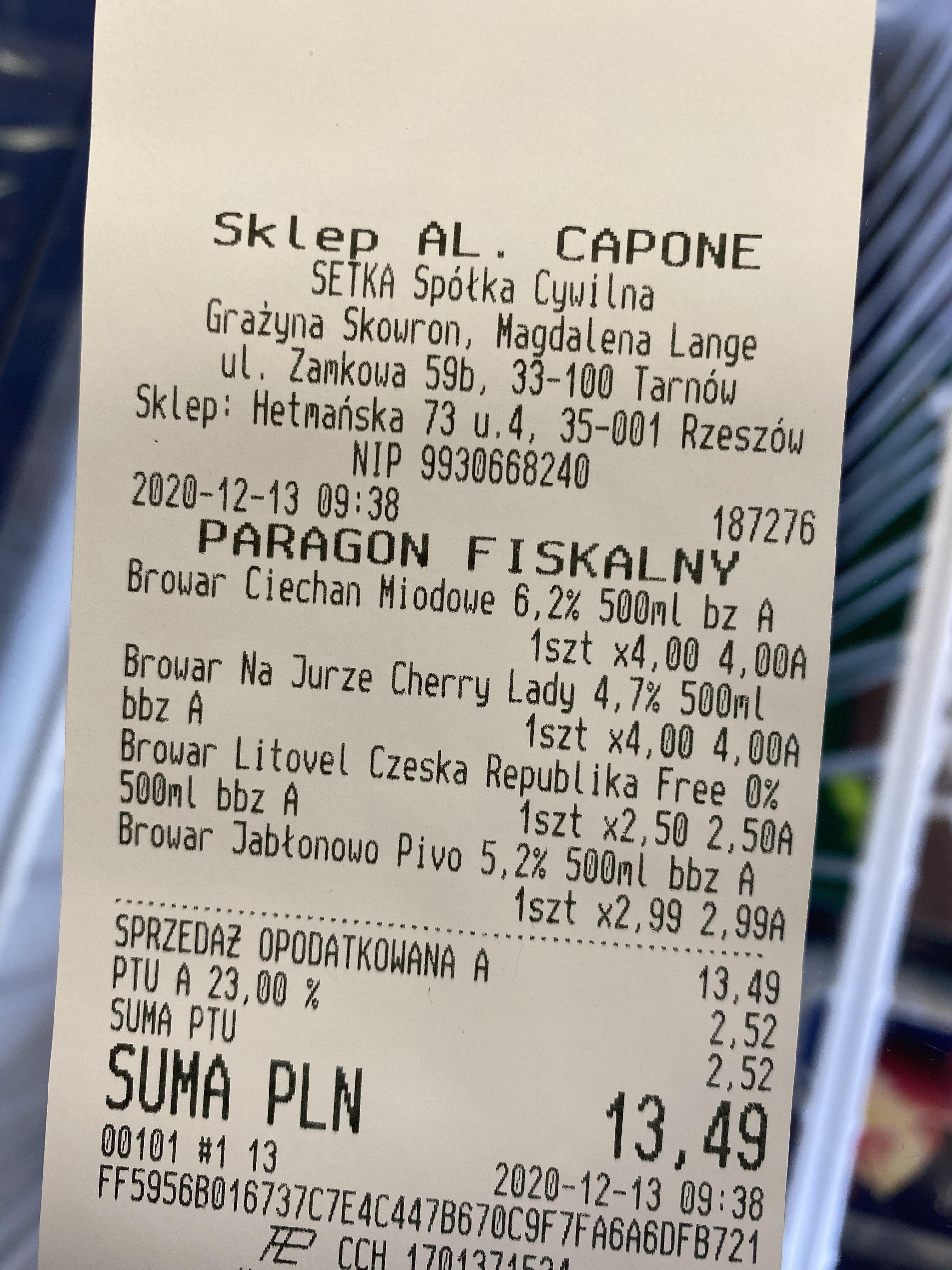 Piwo Bojan Miodowe , BNJ Cherry lady i inne. Rzeszow Hetmańska Al.Capone