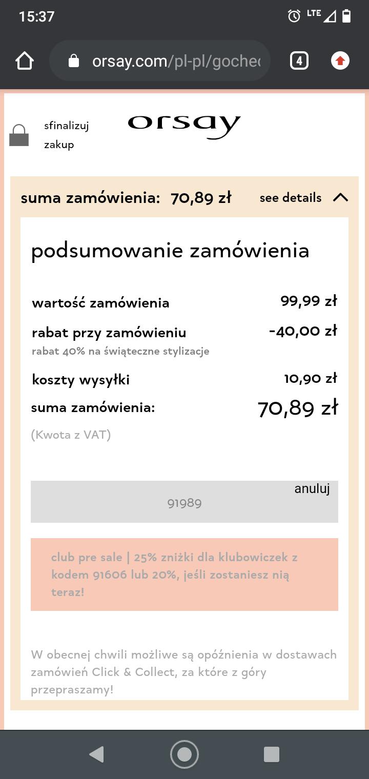 Kod rabatowy -40% w Orsay