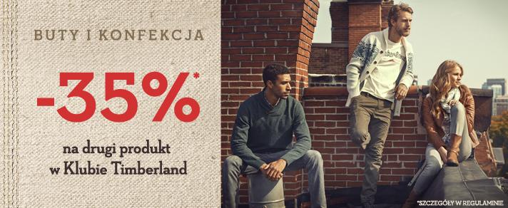 35% na drugi produkt dla stałych klientów @ Timberland