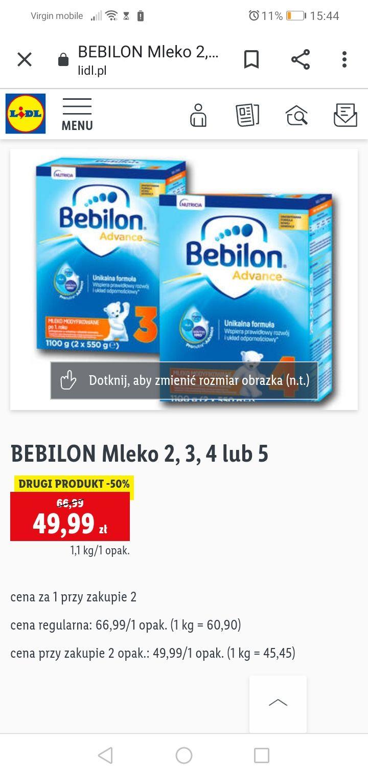 Mleko Bebilon 1100g Lidl promocja przy zakupie dwóch opakowań