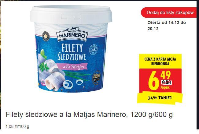 Filety śledziowe a la Matjas Marinero, 1200 g/600 g -Biedronka