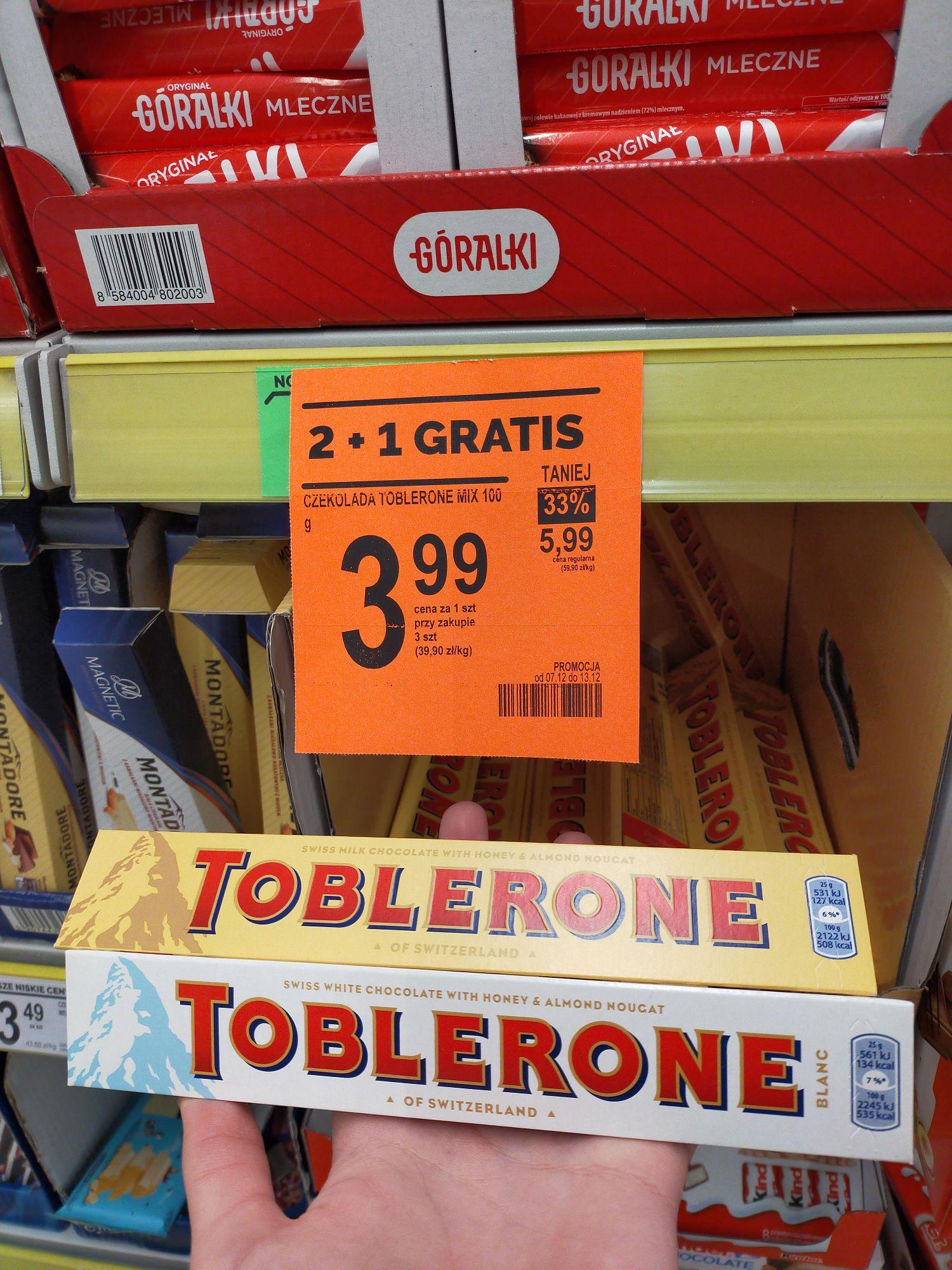 Czekolada Toblerone 2+1 gratis Biedronka