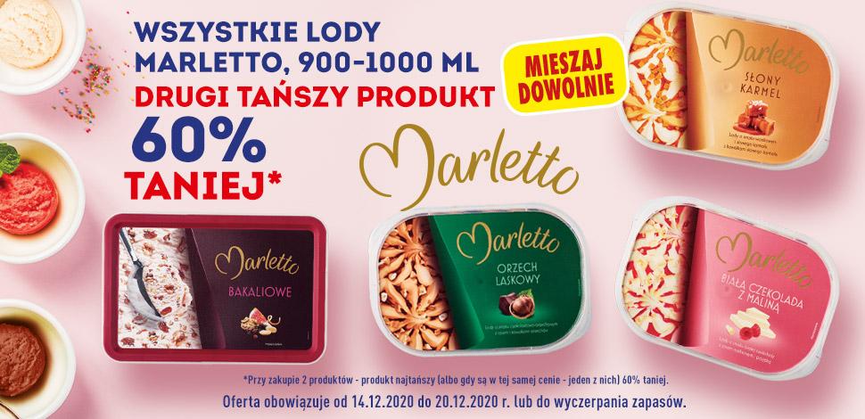 Wszystkie lody Marletto 900-1000ml, drugi tańszy 60% taniej