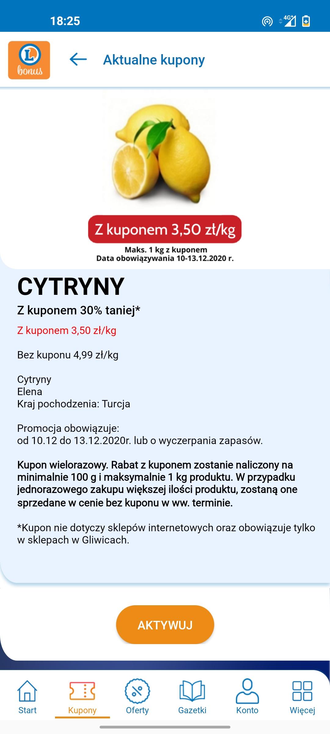 Cytryny 3,50/kg z kuponem Leclerc